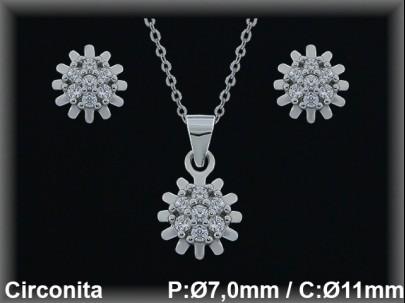 """Conjunto plata rodio  """"flor"""" circonita  presión 7/11mm.Ø-cad.7330 ar/br"""