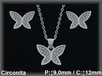 """Conjunto plata rodio  """"mariposa"""" circonita  presión 6x9/9x12mm.cad.7330 ar/br"""