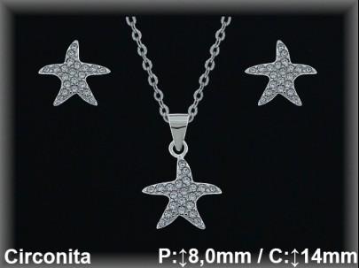 """Conjunto plata rodio  """"estrella"""" circonita  presión  8/11x14mm.cad.7330 ar/br"""