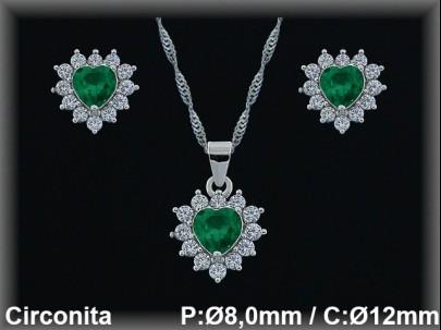 Conjunto  plata rodio  circonita  verde/blanca presión 7x8/10x12mm.cad.7390br