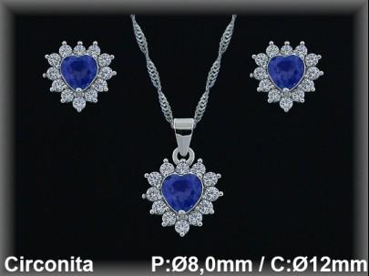 Conjunto  plata rodio  circonita  zafiro/blanca presión 7x8/10x12mm.cad.7390br
