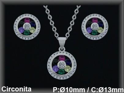 Conjunto  plata rodio  circonita  color/blanca presión 10/13x16 mm.cad.7331br