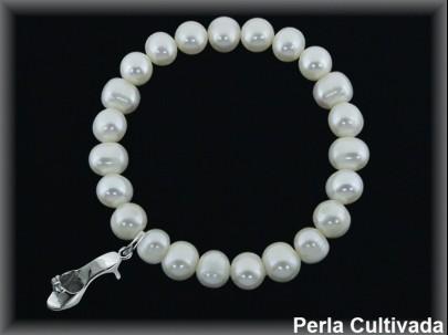 """Pulseras elásticas perla cultivada 7-8 mm.  """"colgante sandalia tacón""""."""