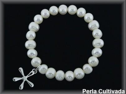 Pulseras elásticas perla cultivada 7-8 mm col.estrella.