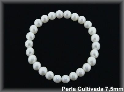 Pulseras elast. perlas  cultivada    s redonda 7-8 mm