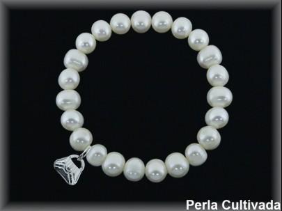 Pulseras elast. perlas  cultivada    s 7-8 mm bolsito plata