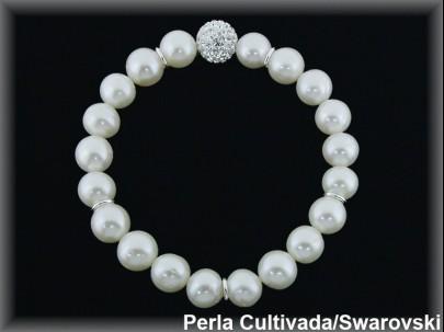 Pulseras perlas  cultivada    s bola swarovski, plata elasticas