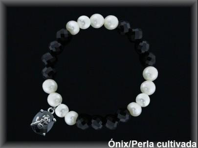 Pulseras elast. perlas  cultivada     /onix