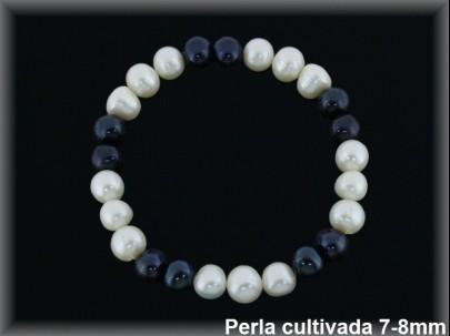 Pulseras elast. perlas  cultivada    s blanca/negra 7-8 mm