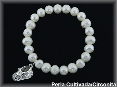 Pulseras elásticas perla  cultivada     7-8 mm col. patuco circonita