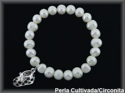 Pulseras elásticas perla  cultivada     7-8 mm col. patuco circonita negro