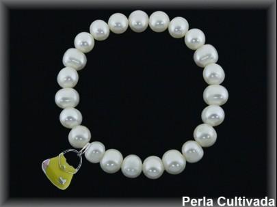 Pulseras elásticas perla  cultivada     7-8 mm col.bolso amarillo