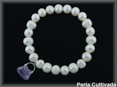 Pulseras elásticas perla  cultivada     7-8 mm col.bolso violeta
