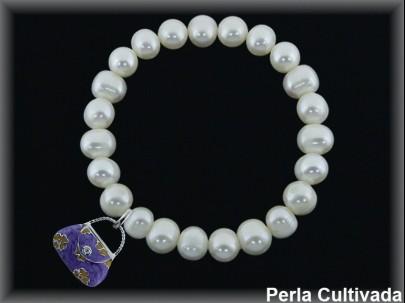 Pulseras elásticas perla cultivada 7-8 mm col.bolso violeta.