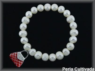 Pulseras elásticas perla cultivada 7-8 mm col.bolso rojo.