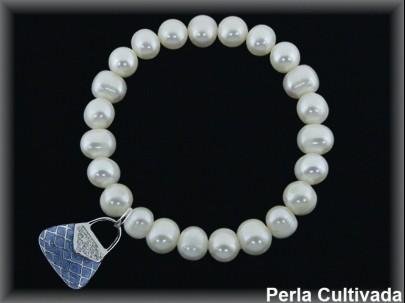 Pulseras elásticas perla  cultivada     7-8 mm col.bolso azul