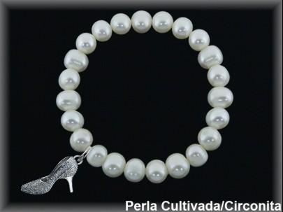 Pulseras elásticas perla cultivada 7-8 mm col. zapato circonita