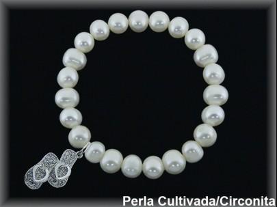 Pulseras elásticas perla cultivada 7-8 mm col.chanclitas circonitas.