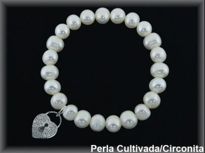 Pulseras elásticas perla cultivada 7-8 mm col.corazón circonita