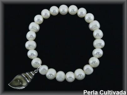 Pulseras elásticas perla  cultivada     7-8 mm col.caracola esm.gris
