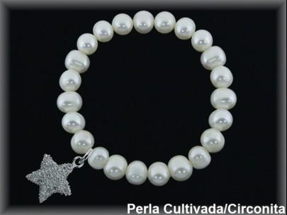 Pulseras elásticas perla cultivada 7-8 mm col.estrella circonita