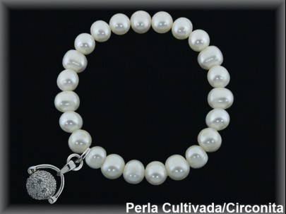 """Pulseras elásticas perla cultivada 7-8 mm colgante """"sonajero circonitas""""."""