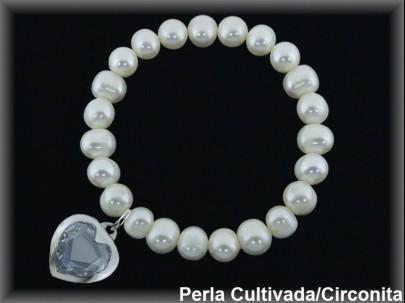 Pulseras elásticas perla cultivada 7-8 mm col.coracon circonita