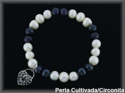 Pulseras elástica  perla  cultivada     blan./negra7-8 mm col.corazon circonita