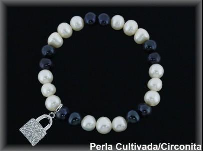 Pulseras elástica  perla  cultivada     blan./negra7-8 mm col.candado circon