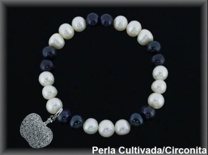 Pulseras elástica  perla  cultivada     blan./negra7-8 mm col.manzana circonita