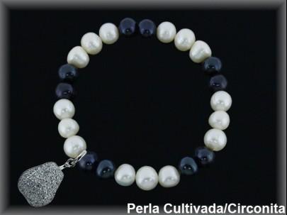 Pulseras elástica  perla  cultivada     blan./negra7-8 mm col.pera circonita