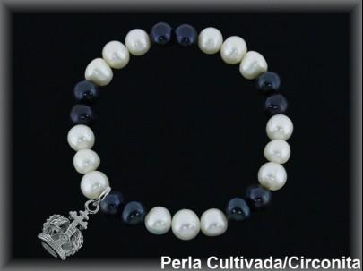 Pulseras elástica  perla  cultivada     blan./negra7-8 mm col.corona real