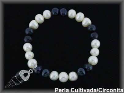 Pulseras elást. perla cultivada blan./negra7-8 mm col.caracola esm/circonita