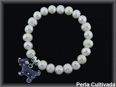 """Pulseras  elast. niña perla cult. 6mm./plata """"perrito"""""""