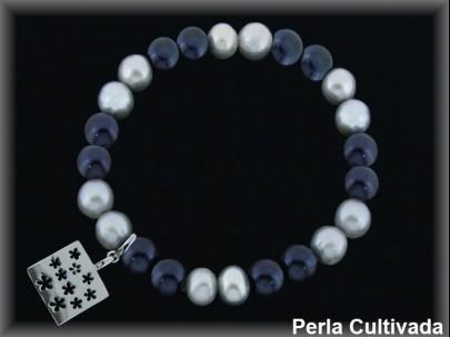 Pulseras elástica  perla  cultivada     gris/negra7-8 mm col.primavera