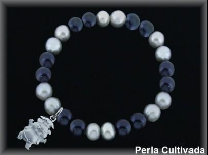 Pulseras elástica  perla  cultivada     gris/negra7-8 mm col.cerdito sat.