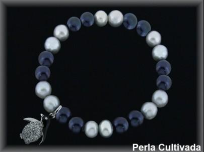 Pulseras elástica  perla  cultivada     gris/negra7-8 mm col.pingüino circon/esm.
