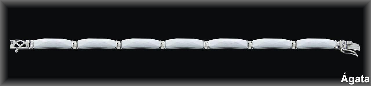 Pulseras plata barras finas agata blanca facetado