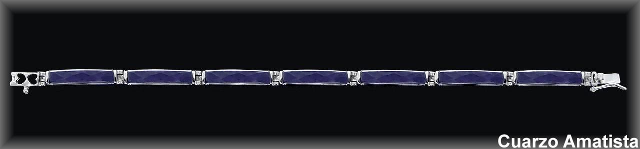 Pulseras plata barras finas cuarzo amatista facetado