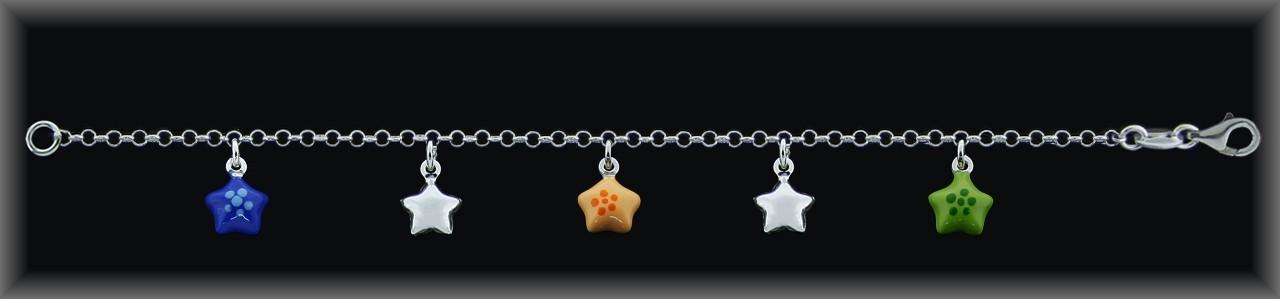 Pulseras plata estrellas esmalte verde/naranja/azul-lisas