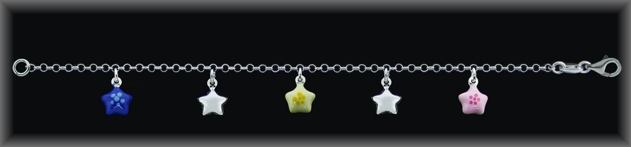 Pulseras plata estrellas esmalte rosa/amarillo/azul-lisas