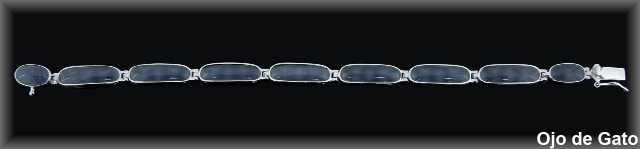 Pulseras plata rodio  barras ovales 6.5x18 mm. ojo gato negro