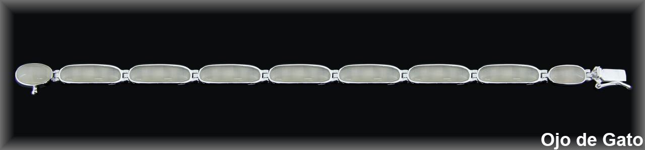 Pulseras plata rodio  barras ovales 6.5x18 mm. ojo gato beig