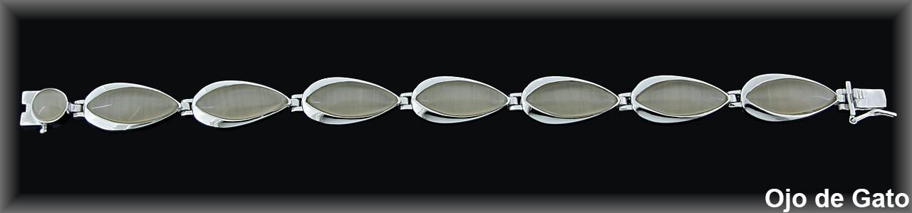 Pulseras plata rodio  barras en hoja11x21 mm. ojo gat beig