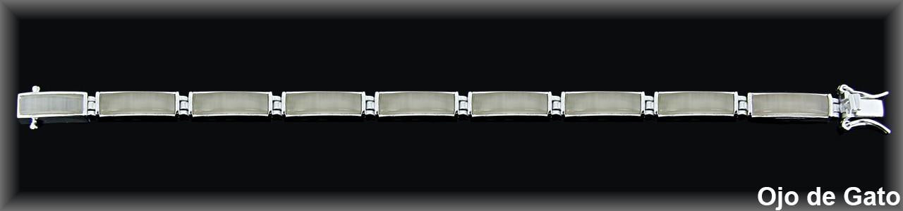 Pulseras plata rodio  barras 6x18 mm. ojo gat rosa