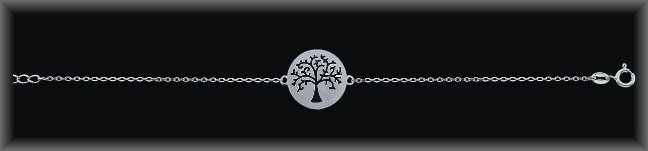 """Pulseras plata rodio cadena""""árbol de la vida""""16mm.Ø.esmal."""