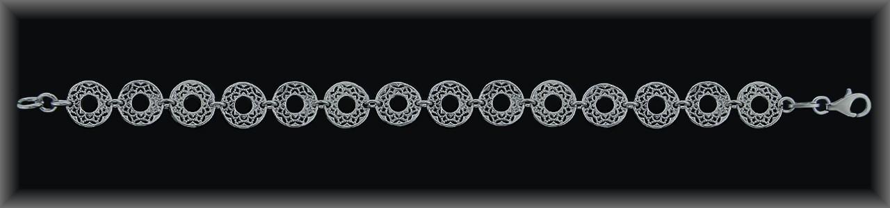 "Pulseras plata rodio ""aros motivos calados"", 10 mm.Ø."
