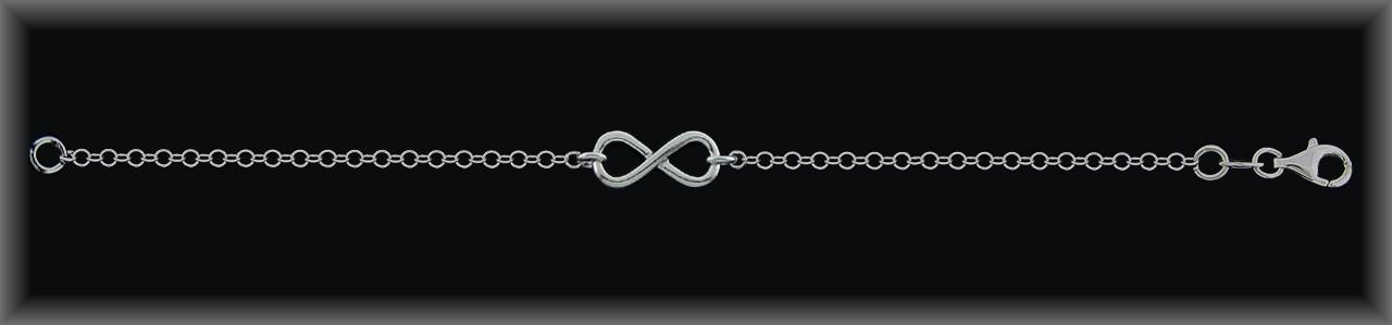 Pulseras plata lisa rodio centro infinito