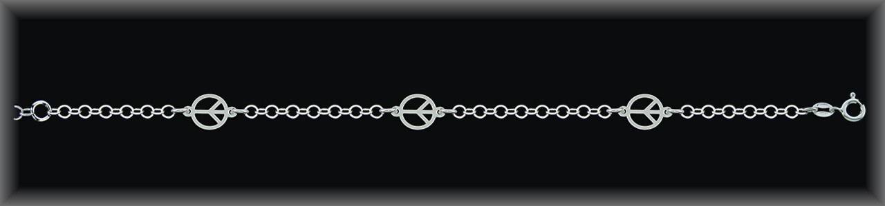 "Pulseras plata lisa ""3  simbolos de la paz"",cad. forz  redondo"