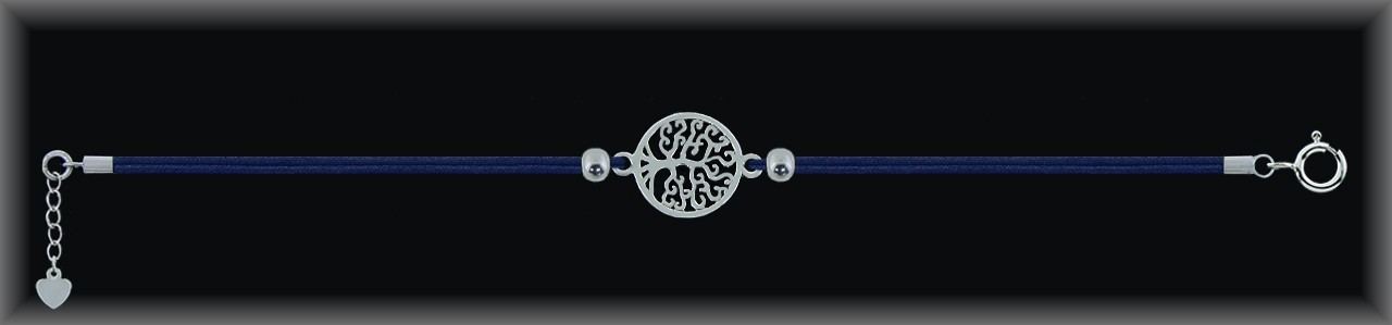 "Pulseras plata lisa ""árbol de la vida 14mm.Ø""cordón seda azul."